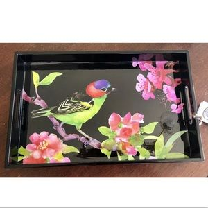 Michel Design Decoupage Wood Tray Floral Bird Song